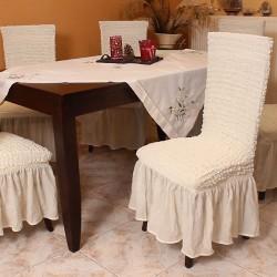 Σετ 6 τεμάχια καλύμματα καρέκλας με βολάν Εκρού