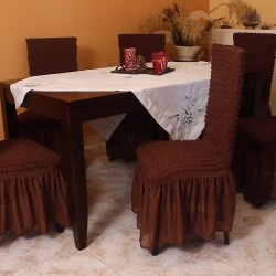 Σετ 6 τεμάχια καλύμματα καρέκλας με βολάν Καφέ
