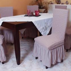 Σετ 6 τεμάχια καλύμματα καρέκλας με βολάν Γκρι έλεφαντ