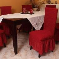 Σετ 6 τεμάχια καλύμματα καρέκλας με βολάν Μπορντό