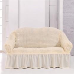 Κάλυμμα διθέσιου καναπέ ελαστικό με βολάν σε Εκρού χρώμα