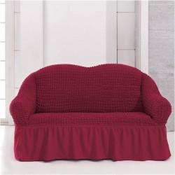 Κάλυμμα διθέσιου καναπέ ελαστικό με βολάν σε Μπορντό χρώμα