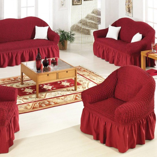 Σετ 3 τεμάχια καλύμματα καναπέ με βολάν Μπορντό