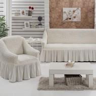 Σετ 3 τεμάχια καλύμματα καναπέ με βολάν Εκρού