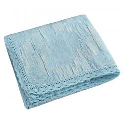 Κουβέρτα ζακάρ Art 1348 με δαντέλα υπέρδιπλη σε 5 χρώματα  230x250  Sky