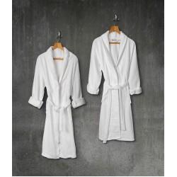 Μπουρνούζι Contour 100% Cotton Πικέ M/L Λευκό Beauty Home