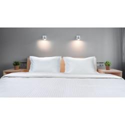 Σεντόνι Ξενοδοχείου υπέρδιπλο Silky Percal Pennie 230tc Satin Stripe 100% Cotton Λευκό 240x265