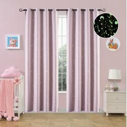 Κουρτίνα φωσφορίζουσα με 8 κρίκους Art 6140 ροζ - 140x260 Ροζ Beauty Home