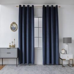 Κουρτίνα βελούδο σκίασης με 8 κρίκους Art 8399 - 140x270 - Μπλε Beauty Home